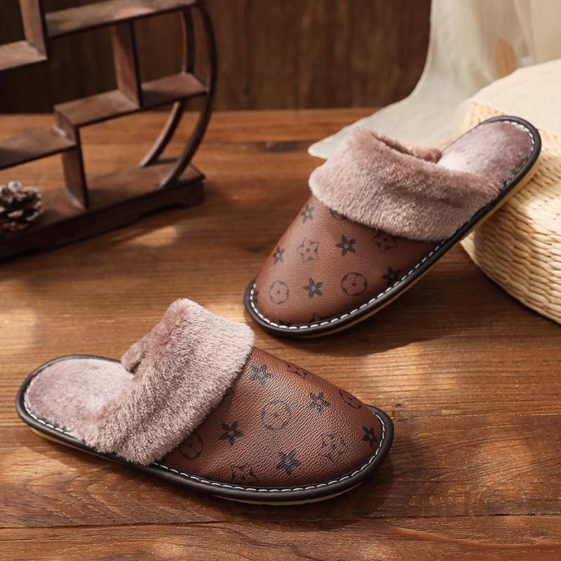 drop shopping designer vintage winter house warm leather slipper plush fur indoor luxury bedroom leather slippers for men