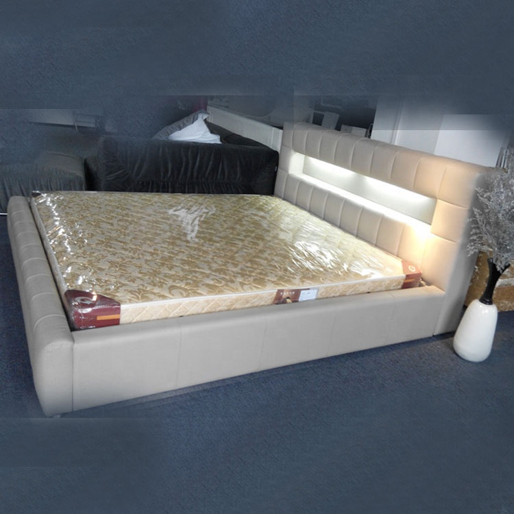 Modern simple and rustic single double LED headboard king size white leather LED bed