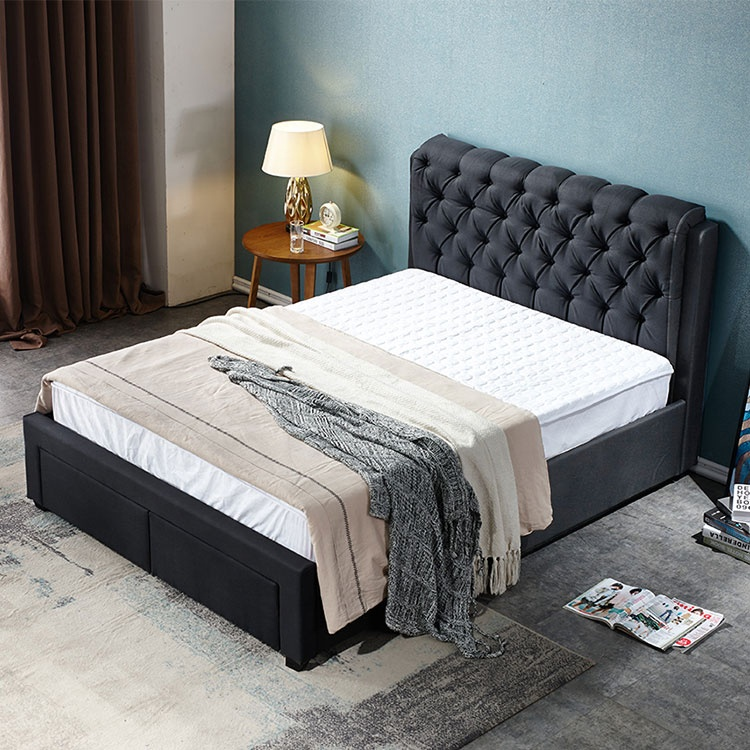 Hot new modern design black queen double king size fabric bed with two storage drawers