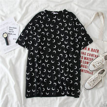 Duckwaver, летняя женская футболка с принтом полумесяца, большие размеры, дышащая мягкая Женская Базовая свободная футболка, эстетическая футбо...(Китай)