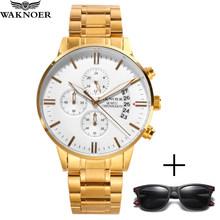 WAKNOER мужские часы с хронографом, спортивные мужские часы, Топ бренд, роскошные золотые часы, мужские водонепроницаемые часы, Relogio Masculino Reloj ...(Китай)