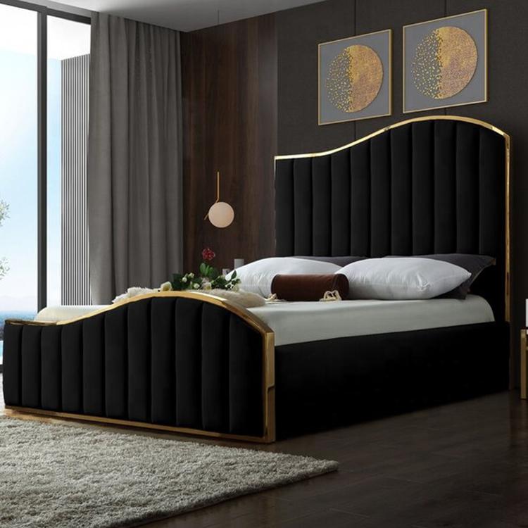 royalty Velvet Upholstered bed stylish rich gold trimming metal frame headboard footboard bed