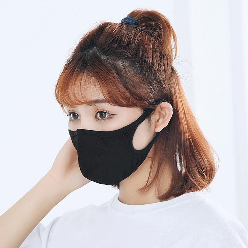 2021 Adult pure cotton nosemask men women washable dust proof windproof black cotton facemask