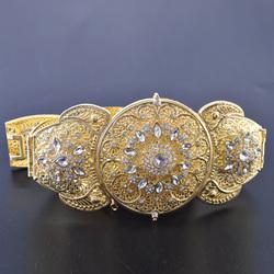 Classic Caucasian style women's wedding metal belt handmade rhinestone embellishment adjustable waist chain