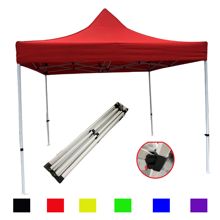 10x10 steel frame 300D red canopy folding tent