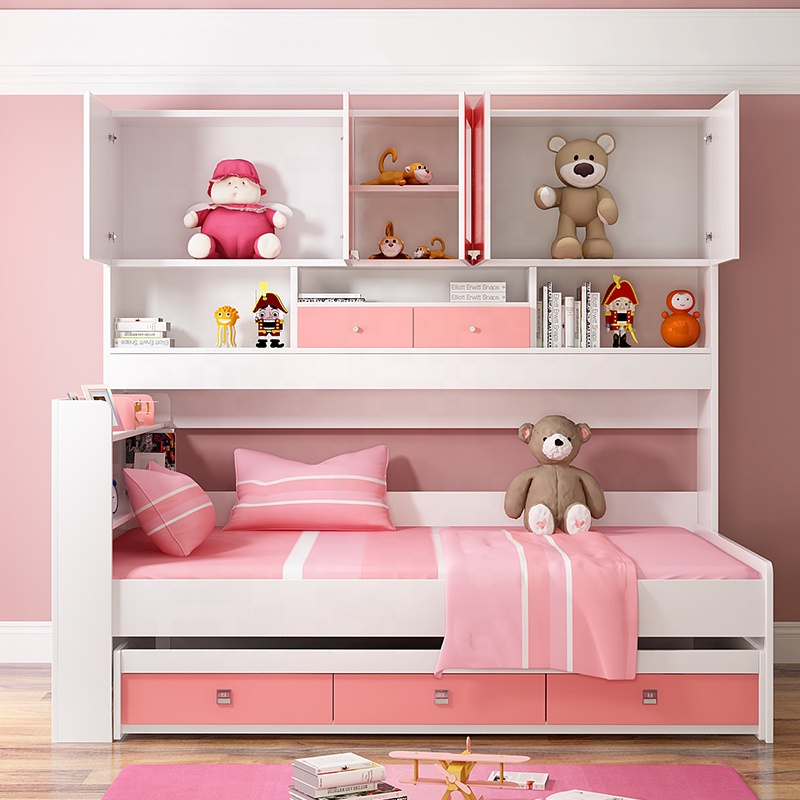 Modern Children MDF Bunk Bed Cheap Double Beds Pink Factory Directly Wooden Princess Bed
