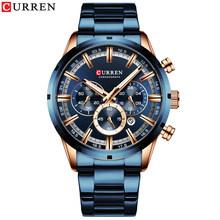Роскошные мужские кварцевые часы от Топ Бренда CURREN из нержавеющей стали, с секундомером, релого(Китай)