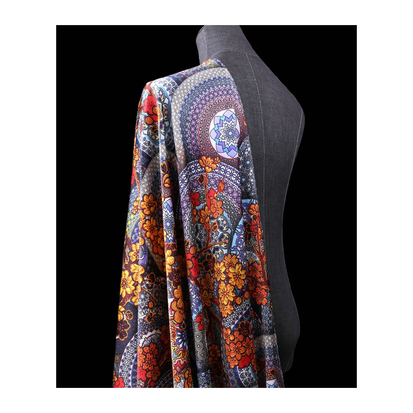 Шелковая сатиновая ткань с цифровым принтом для шелковых платьев