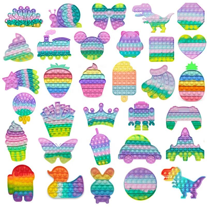 Игрушка-антистресс Macaron, сенсорная игрушка, популярная пузырьковая силиконовая игрушка-антистресс, детская Семейная Игрушка, квадратные игры