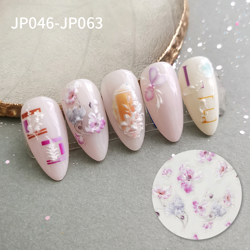 springtime new Factory direct sales colorful nail art sticker 3D Relief