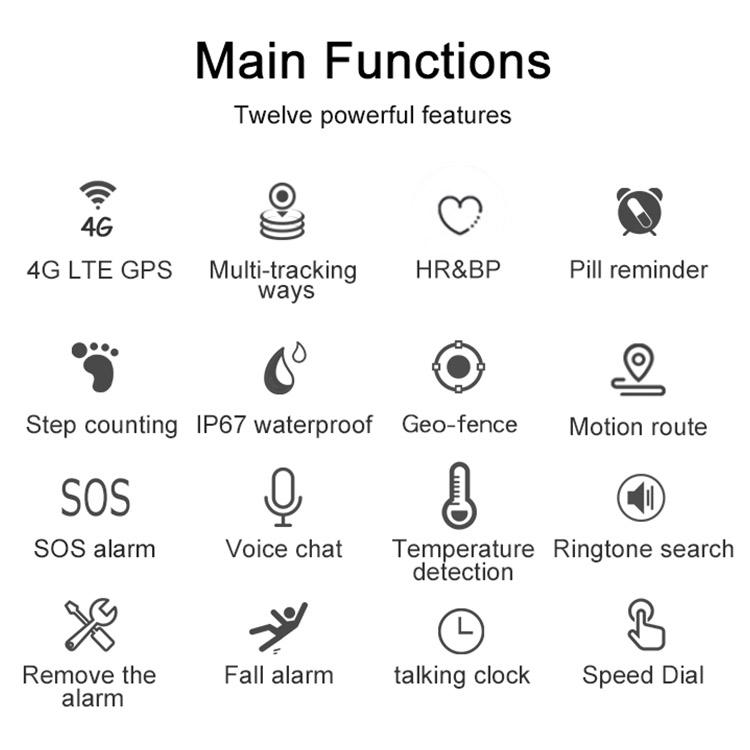 Tycho V48 4G GPS Smart Watch Fall Detection Seniors Waterproof GPS SOS Watch