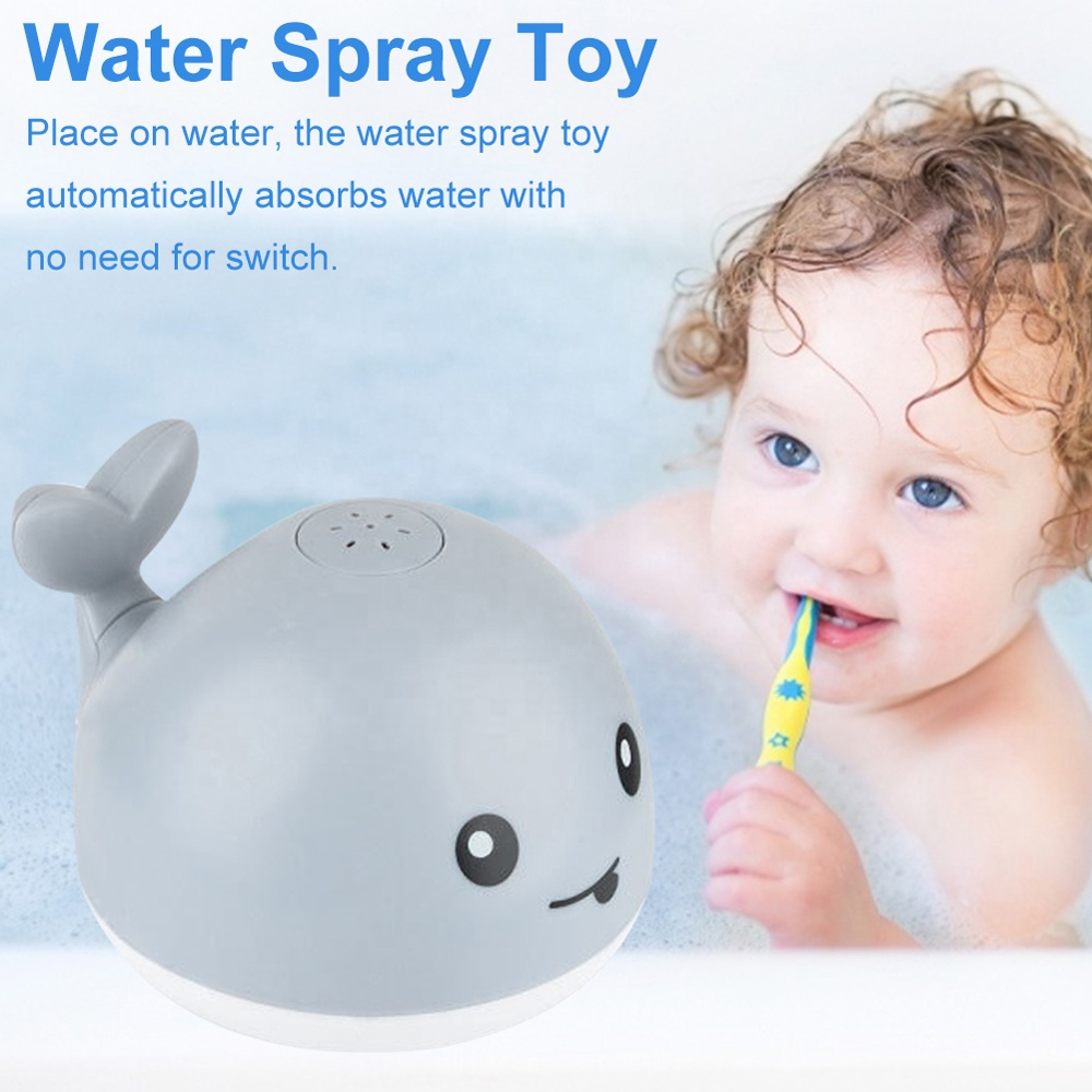 Electric induction automatic water spray swimming bath toy whale with flashing light
