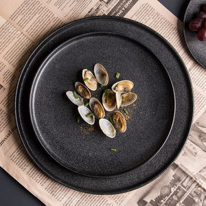 Retail Ceramic Porcelain Hotel Home Restaurant Matte Flat Round Rectangle and Square shape Black Dinner Plate Set and Bakeware