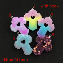 10 шт. 43 мм * 35 мм милые многоцветные подвески из смолы с плоской задней частью для подвески для ключей, аксессуары на шею для самостоятельного...(Китай)