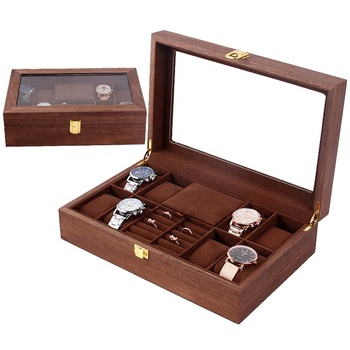 Vintage wood organizer box for family jewelry rings earrings pendants bracelets watches