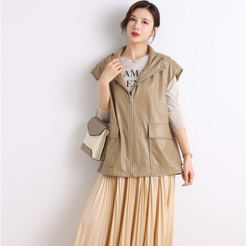 New design quality fashion casual leather vest for women custom faux leather lady