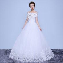 Свадебное платье с вырезом лодочкой в наличии, Элегантное свадебное платье размера плюс с кристаллами, XXN128(China)