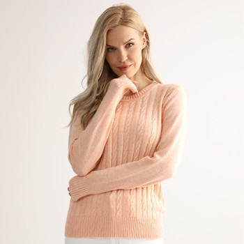 Long Sleeve Pink Crew Neck Pullover Women Cable Knit Cashmere Sweater