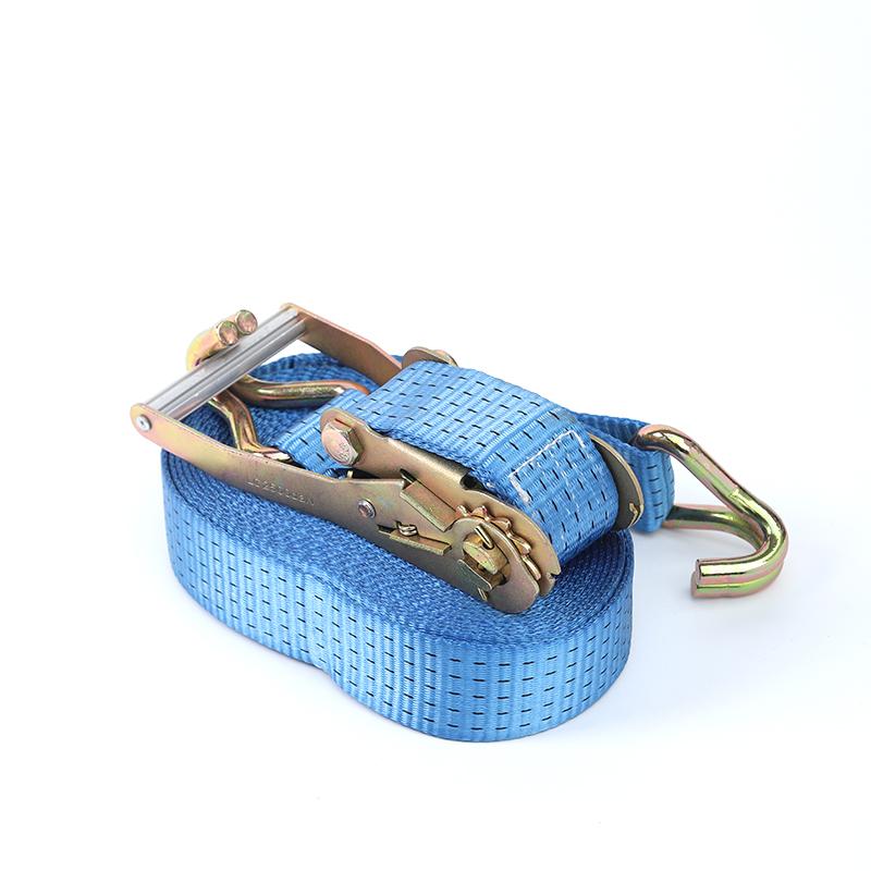 2 inch heavy duty lockable lashing belt J hook textile Aluminium Handle wholesale 50mm 5000kg ratchet straps tie down strap