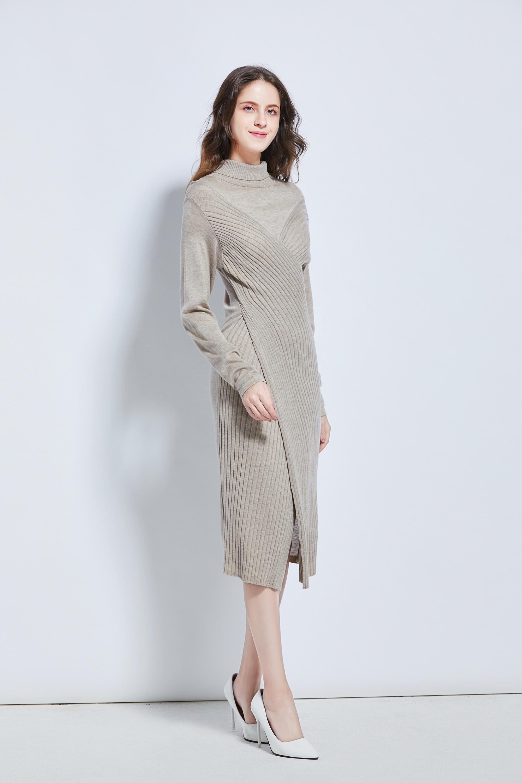 Элегантное трикотажное платье-водолазка, женское платье-свитер