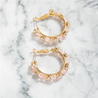 Pink Gold Plated Earrings Earrings BXY Pink Glass Beads Gold Plated Earrings Round Circle Crystal Hoop Earrings For Women