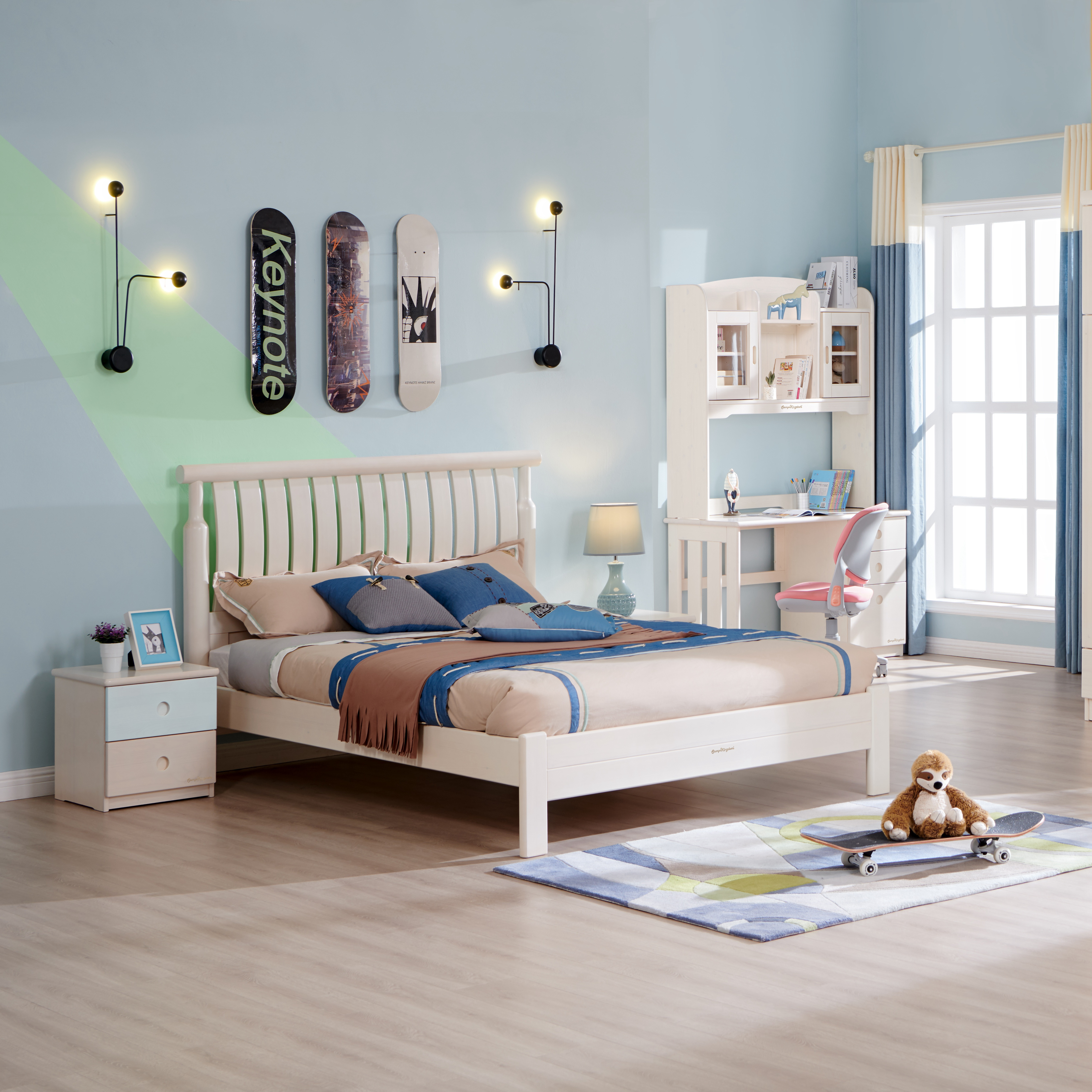 New Design Kids Double Bed Car Beds For Boys Blue Supplier