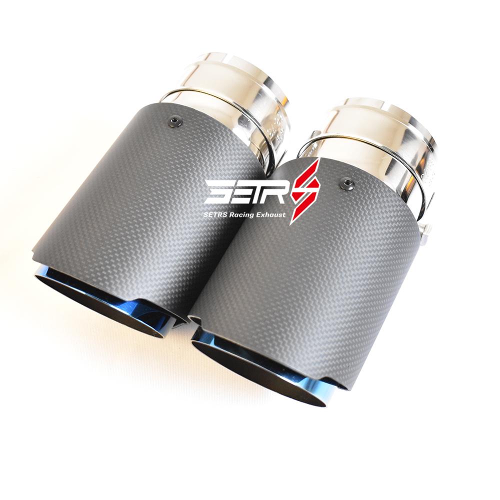 Universal Matt Carbon Fiber Exhaust Tip Blue Muffler Pipes Car Stainless Steel 76mm 3 Inch Muffler Tip For Akrapovic