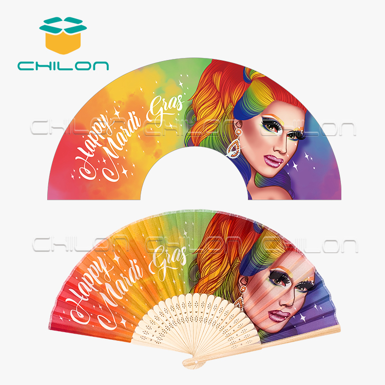 Bamboo silk folding hand fan with custom design printed