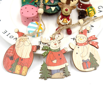 5 Mixed Color Printed Fat Cute Santa Claus Elk Wooden Pendants Wooden Gifts Christmas Tree Decorations