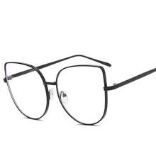Большие размеры, женские металлические оправа для очков в стиле кошачьи глаза, фирменный дизайн, модные мужские очки с прозрачными линзами, ...(Китай)