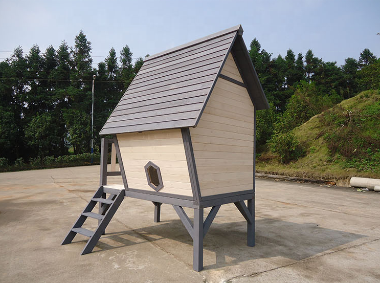 Outdoor Backyard kids cubby house Wooden Children Playhouse with Slide