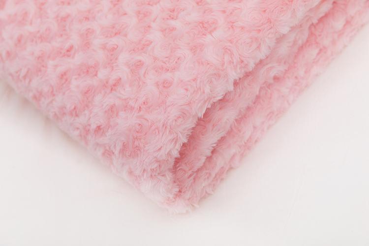 PV fleece brushed flower design pink double layer blanket