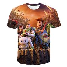 Одежда для маленьких мальчиков 2020, 3D мультяшная игрушка История 4, Детская футболка, летняя мода для мальчиков и девочек, веселые топы с коро...(Китай)