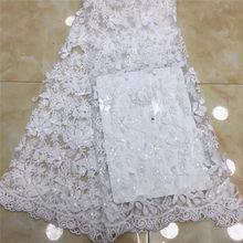 Блестки 5 ярдов мягкий ручной работы элегантный Африканский Французский кружевной ткани блестящая Свадьба Нигерия Гана праздничное платье...(Китай)