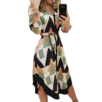 New Arrival Women Clothes Multicolor Geometric Print Casual Shirt Dress Female