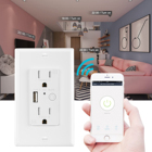 Plug Smart Wall Plug Outlet In-Wall Plug US 110V 15Amp Tuya Timer APP WiFi Smart USB Socket And Switch Amazon Alexa Google Home Wall Outlet