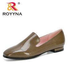 ROYYNA/Новинка 2020 года; Дизайнерская женская обувь; Туфли-лодочки с квадратным носком; Кожаные модельные туфли на низком каблуке; Водонепрониц...(Китай)