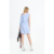 100% cotton OXFORD single shoulder bow women sky blue causal dress