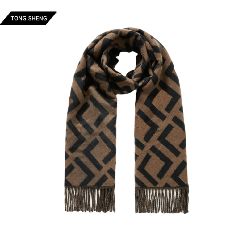 Tong Sheng Pure Cashmere Scarf For Women Fringed Logo-Jacquard Tassel Winter Cashmere Scarf For Women
