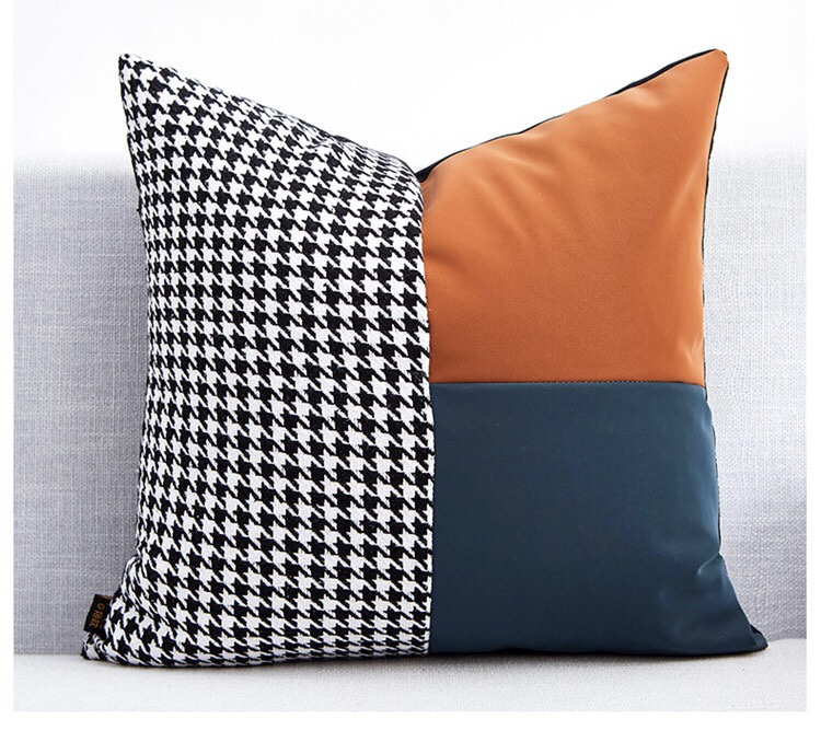 Fast Shipping Fedex Accent Pillow Couch Leather Pillow Cover with embroidery Leather Cushion