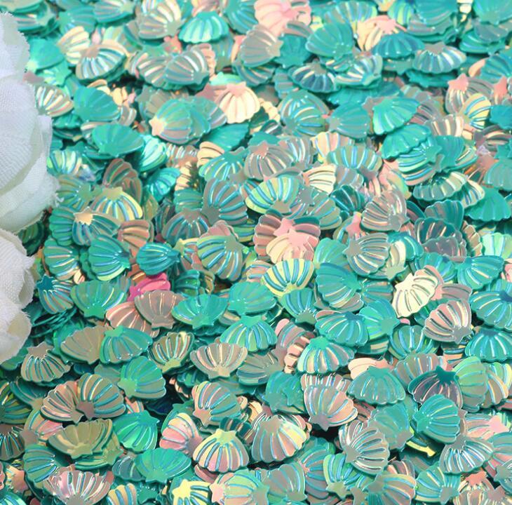 Высококачественные блестящие Плоские Блестки в виде ракушек, оптовая продажа, пластиковые лазерные блестки для самостоятельного изготовления тканевых слаймов