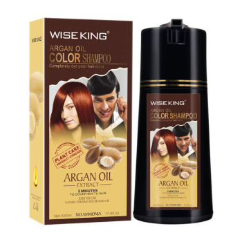 WISEKING colorful hair dye shampoo with argan oil sppedy finish covering white/grey hair color shampoo in saudi arabia packing