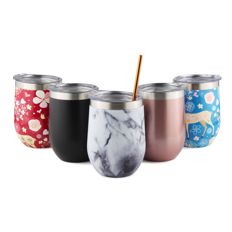 12oz colorful small moq double wall insulated wine tumbler thermal cup with lid and straw