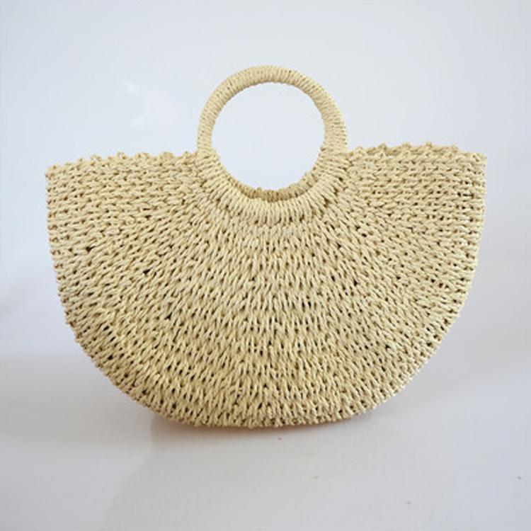 Экологичная Летняя Пляжная Женская бумажная соломенная корзина для покупок ручной работы