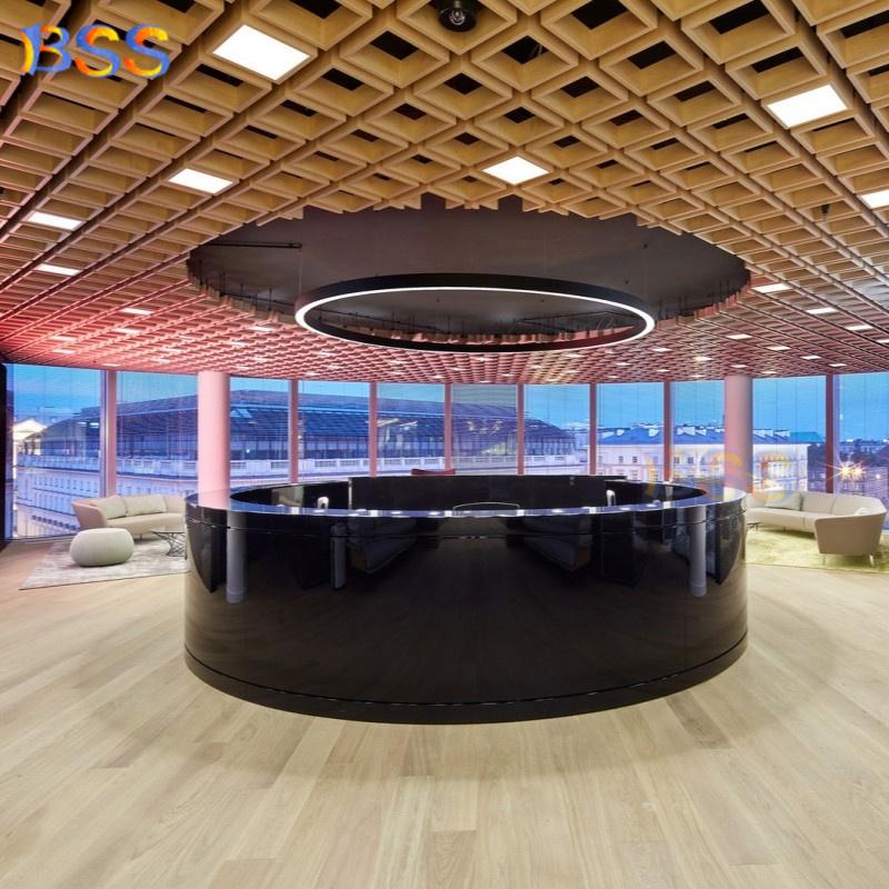 Современный большой офисный круглый стол для администратора с белым камнем