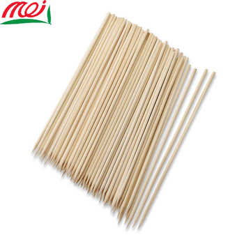 China supplier wholesale cheap bulk long flexible thin marshmallow roast meat bbq kebab barbecue bamboo round stick skewer