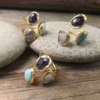 LS-D658 Vintage Design Three Stones On the Surface Of the Ring Natural Amethyst Gemstone Labradorite And Pearls Mix Rings