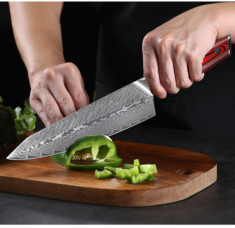 Drop Shipping High Quality Professional  Damascus Steel VG10 Core Steel 6 PCS Japanese Kitchen Knife Set Chef Knife Set