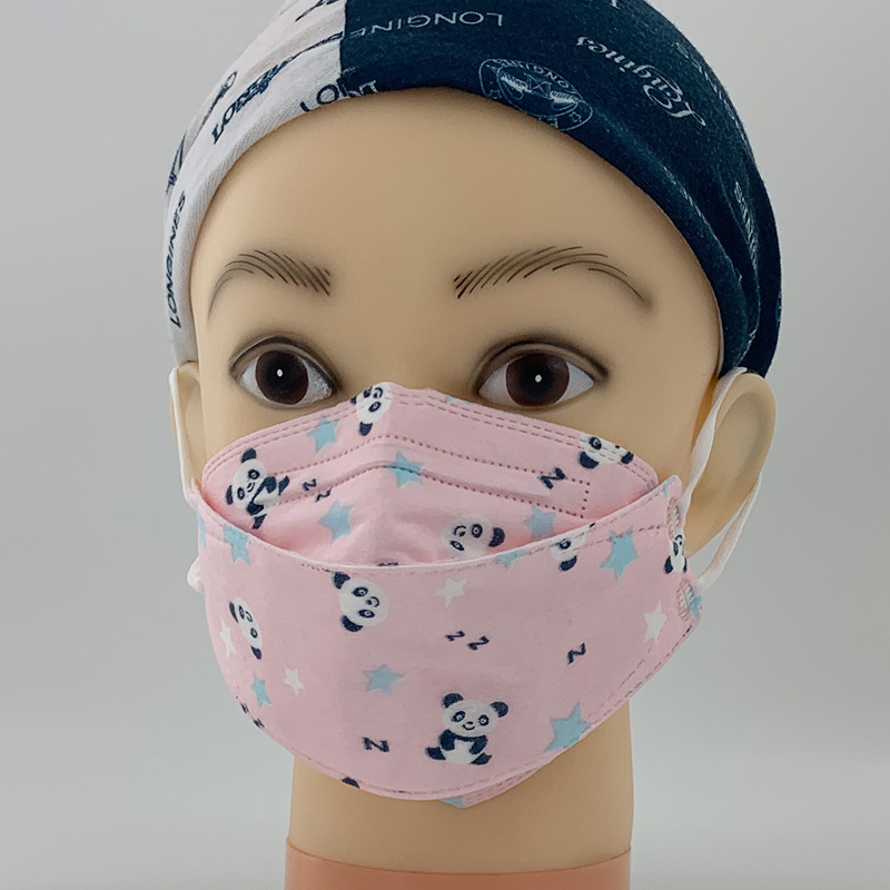 Kids printed pink FFP2 disposable protective fish shape face mask for girl children student face cov(图2)