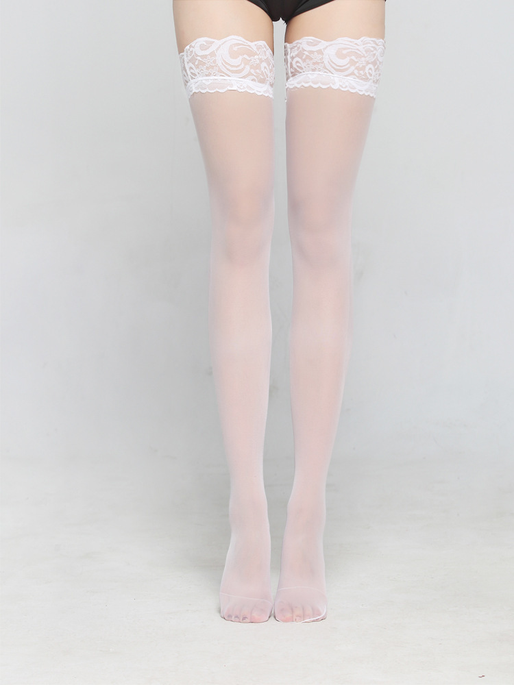 Women Knee High Black Thigh Socks Super Wide Lace Trim Lace Sexy nylon Stockings Black